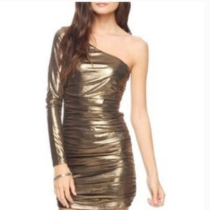 Forever 21 Metallic Gold One Sleeve BodyCon Dress